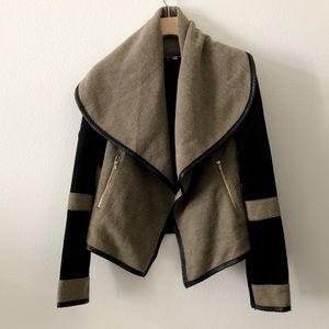 Brown/Black Open Asymmetrical Jacket